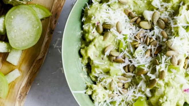 Guacamole Verde with Toasted Pumpkin Seeds & Cheese